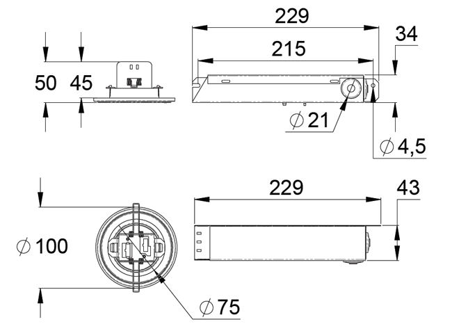 Монтажные размеры светодиодных светильников аварийного освещения LINESPOT II – централизованного типа