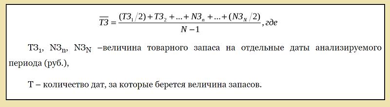Средний товарный запас - формула
