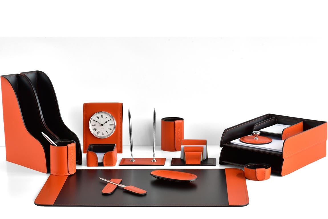 органайзер оранжевый кожаный с часами