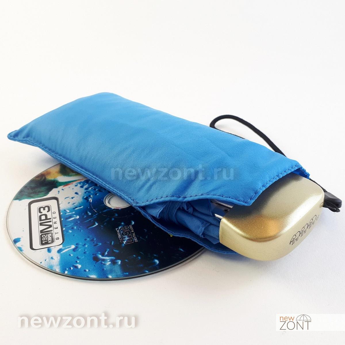 Мини зонтик Три Слона голубой плоский