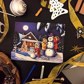 Готовая работа папертоль Зимние каникулы — часть композиции.