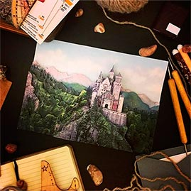 Готовая работа папертоль Замок в Баварии — часть композиции.