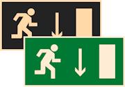 фотолюминесцентный знак эвакуации Е09 Указатель двери эвакуационного выхода (правосторонний)
