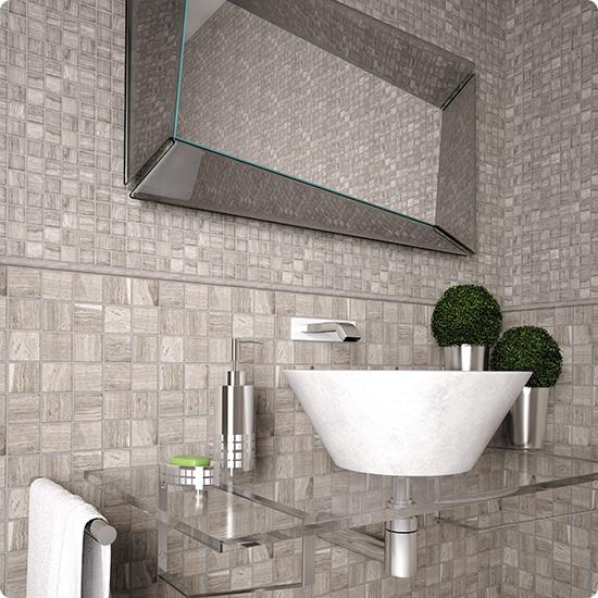 7M032-20P Мозаичная плитка из мрамора Natural Adriatica серый светлый квадрат глянцевый