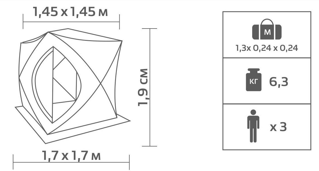 Палатка для зимней рыбалки Premier Куб 1.8х1.8, серо-желтая