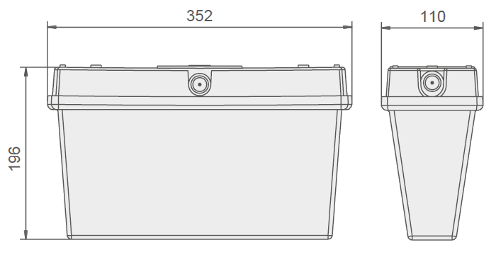 Габаритные размеры для светового указателя направления эвакуации Orion LED D IP65
