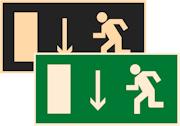 фотолюминесцентный знак эвакуации Е10 Указатель двери эвакуационного выхода (левосторонний)