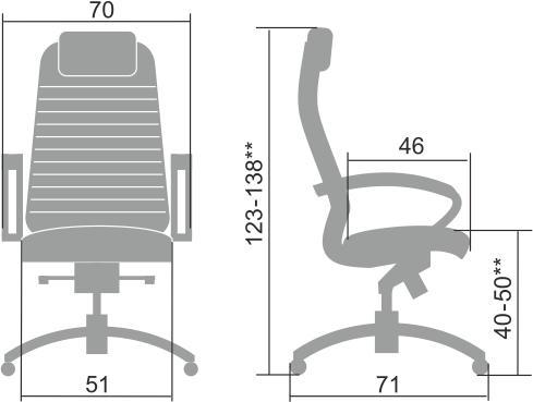 Размеры кресла Samurai KL-1.04 В-Edition