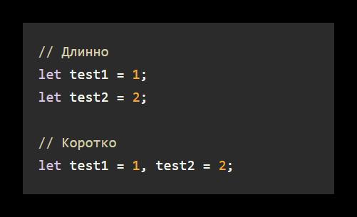 Пример укороченного написания переменных в JS