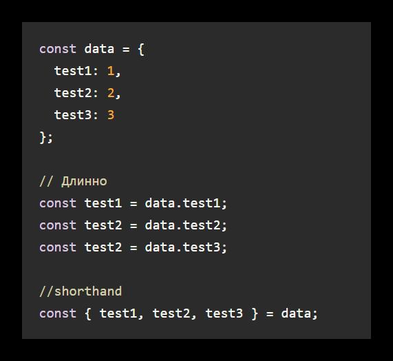 Пример укороченного написания объектов в JS