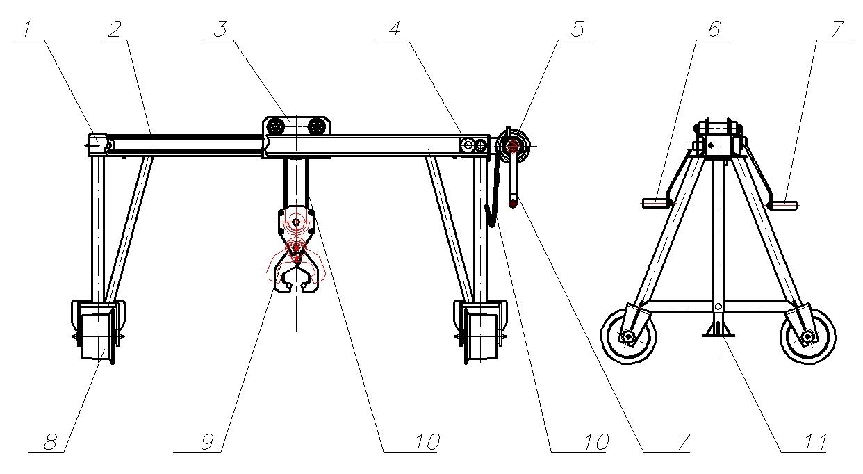 Схема крана съемного для смены рельсов КП–1350