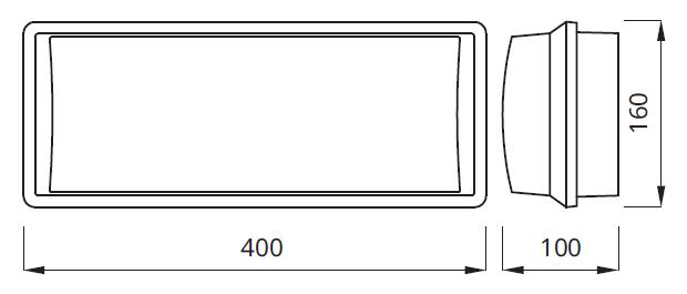 Размер светового эвакуационного указателя выхода IP65 EMX