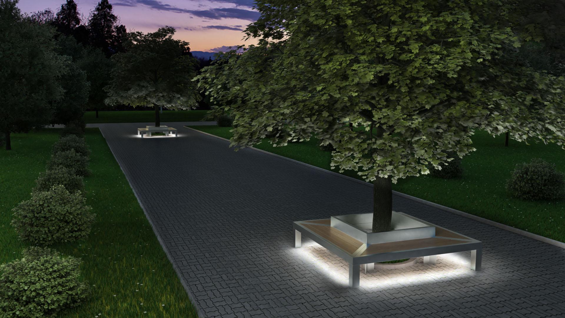 антивандальные парковые скамьи с led подсветкой