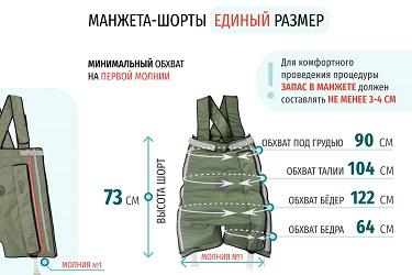 Размеры массажных шорт на 1 молнии