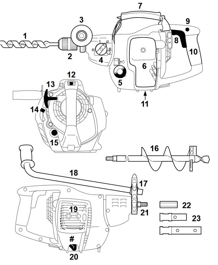 Схема и комплектация бензодрели для сверления шпал Stihl BT 45