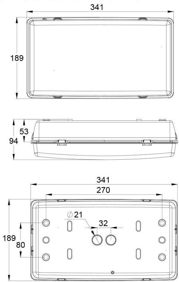 Монтажные размеры для аварийного светильника выход IP65 ESC-29