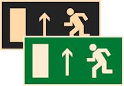 фотолюминесцентные знаки безопасности Е12 Направление к эвакуационному выходу прямо (левосторонний)