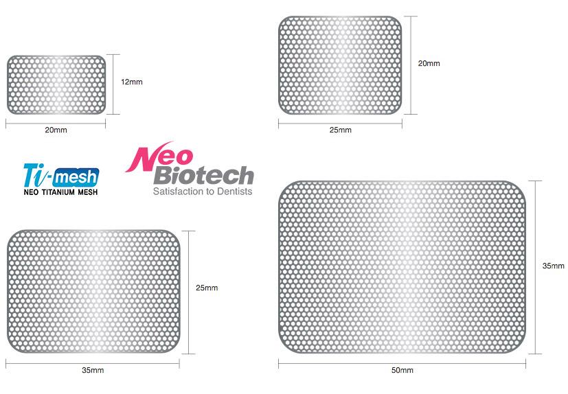 Размеры Титановых Сеток Ti-Mesh RT NeoBiotech