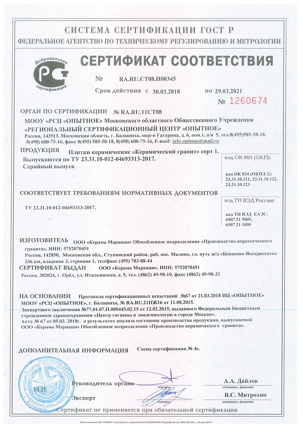 Сертификат Kerama Marazzi