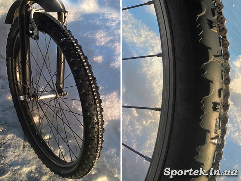 Старая цепь на колесе велосипеда