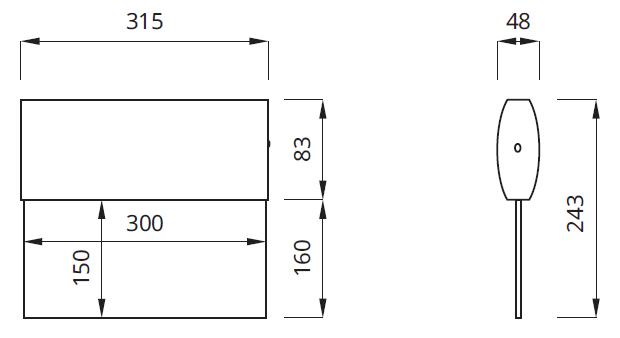 Размер на эвакуационные указатели с аккумулятором IP41 Twins Awex