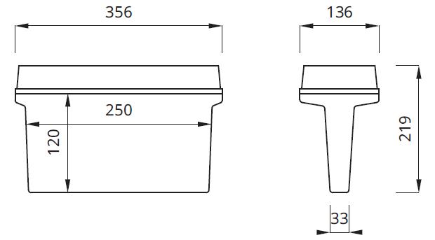 Размер на аккумуляторные светильники выход IP65/IP42 Helios DS Awex