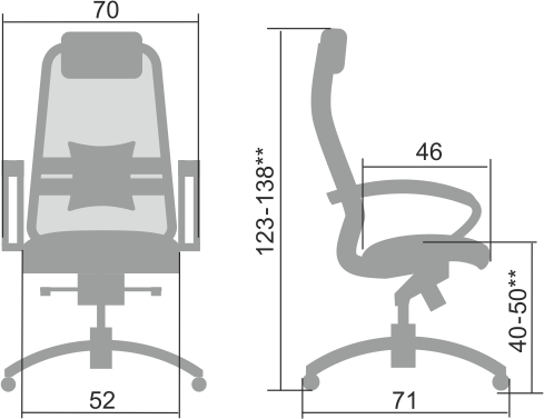Размеры кресла Samurai T-1.04