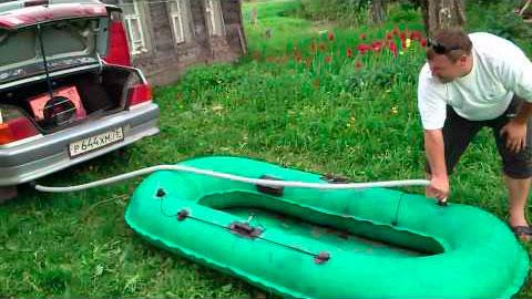 Накачать лодку от выхлопной трубы