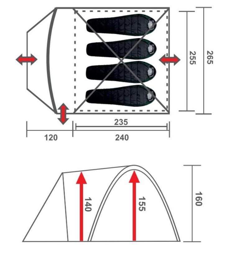 Большая четырехместная палатка Premier Borneo-4 G