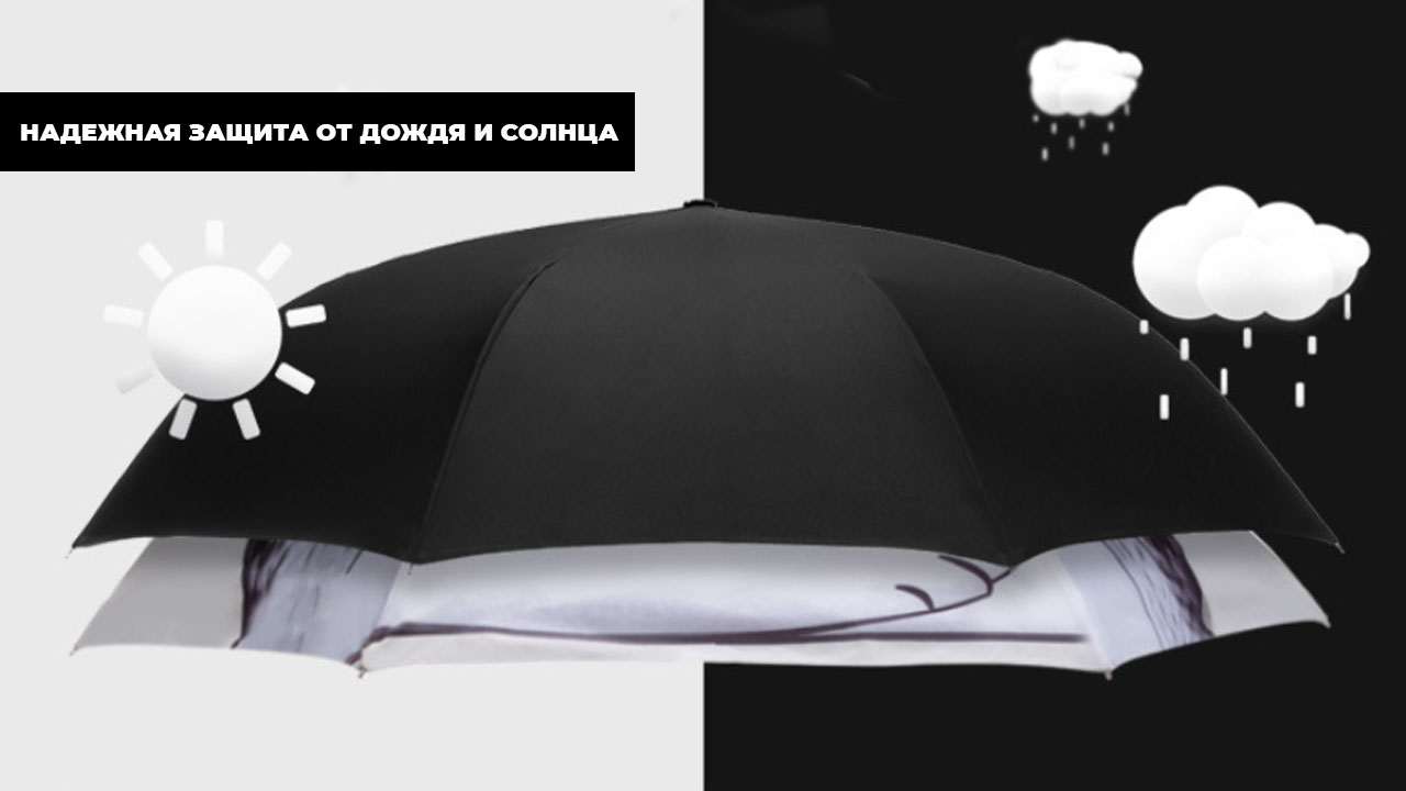 """Зонт наоборот белый """"Кот с помидоркой""""   ZC Original Design"""