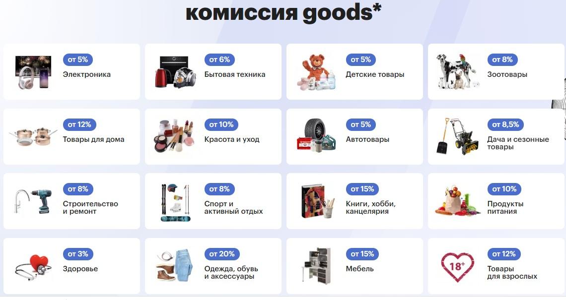Комиссионные ставки для продавцов на Goods
