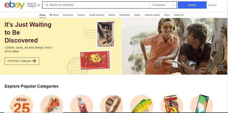 Сайт маркетплейса Ebay