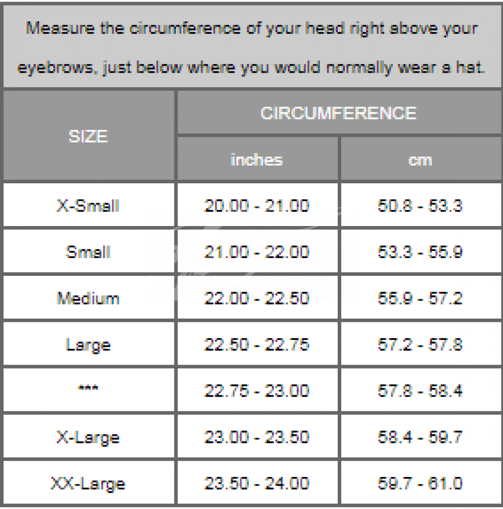 Размерная сетка шлема Phantom X