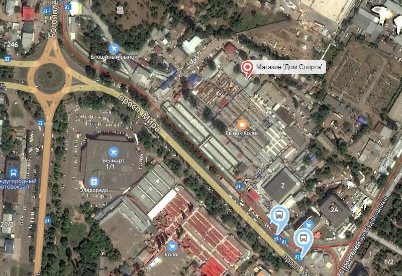 Схема розташування магазину Будинок Спорту на Ринку Колос у Нмколаеве