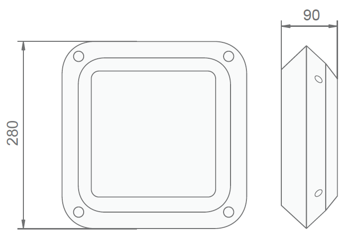 Размеры светодиодного светильника эвакуационного освещения с аккумуляторами для жкх Cosmic Quad LED IP66