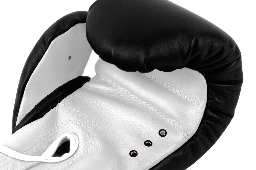 Вентиляция черно-белых боксёрских перчаток Dozen Dual Impact