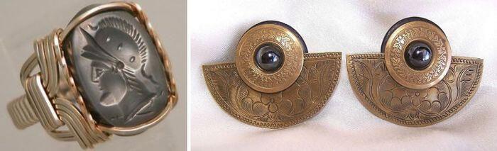 серьги и кольцо с гематитом