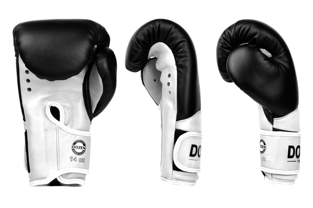 Доворот черно-белых боксёрских перчаток Dozen Dual Impact