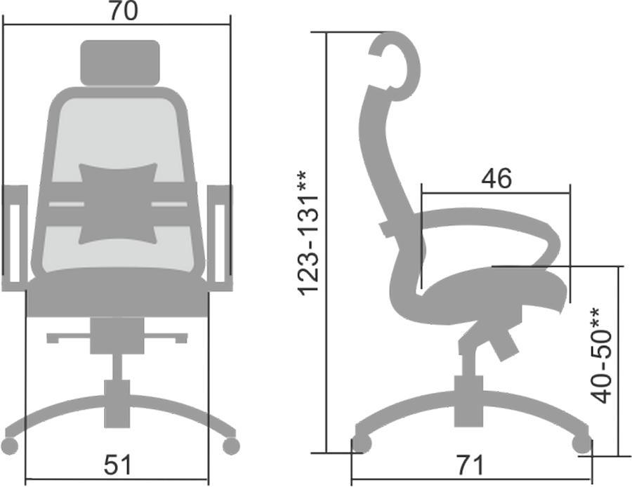 Размеры кресла Samurai S-2.05