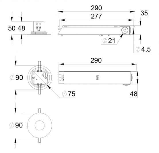 Чертеж аварийного светодиодного светильника для высоких помещений SLIMSPOT II Zone HIGHOUTPUT
