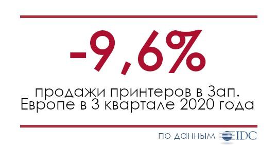 Продажи печатающей техники в 3 квартале 2020 года в Западной Европе сократились почти на 10%
