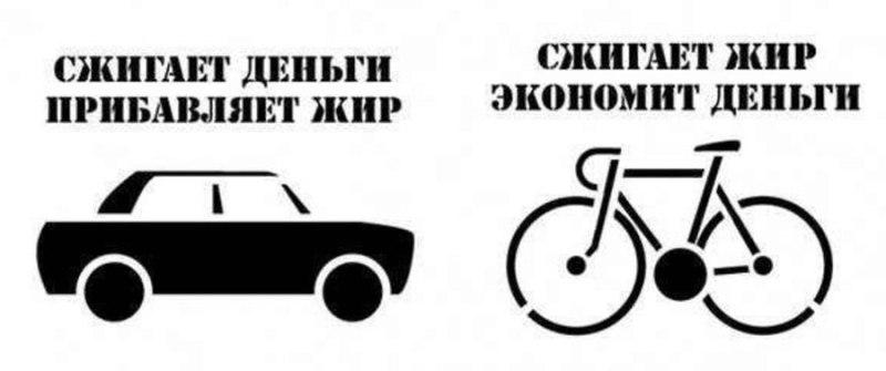 Популярная картинка на тему экономности велосипеда по сравнению с машиной