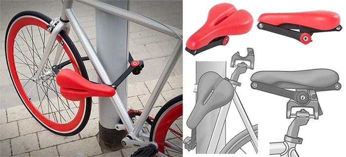 Велосипедное седло с функцией велозамка