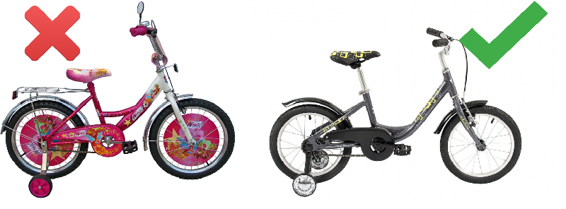 Неправильный и правильный детский велосипед