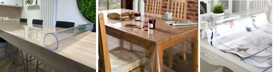Прозрачная скатерть на стол (гибкое стекло)