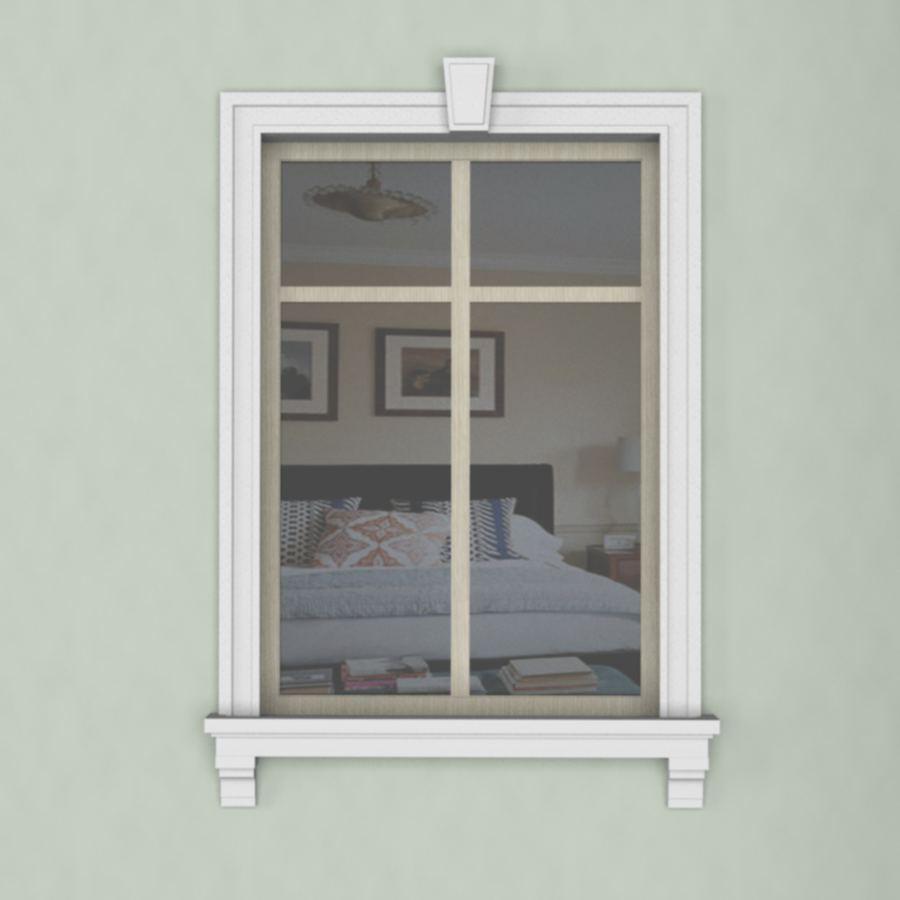 Отделка окна пенопластовой лепниной, наличник, подоконник, замковый камень, консоли.