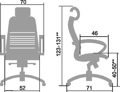 Размеры кресла Samurai K 2.04