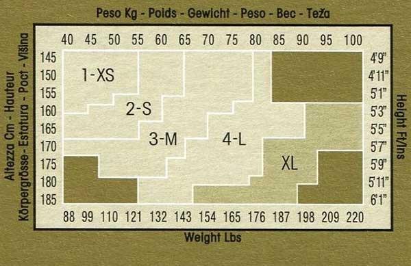 Таблица размеров колготок Omsa