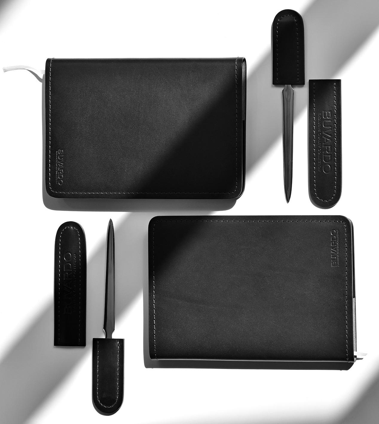 Ежедневник А5 недатированный бувардо комбинированный из кожиFull Grain Black и Cuoietto цвет черный