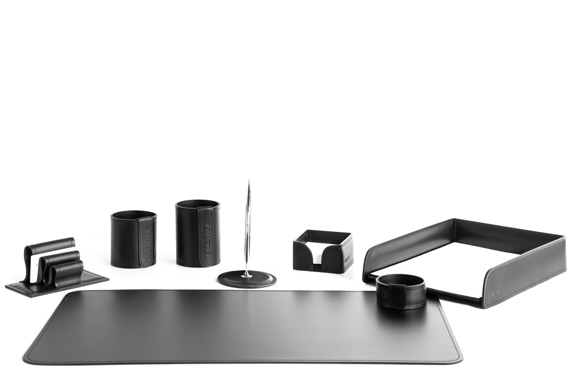 настольный набор черный из кожи 8 предметов
